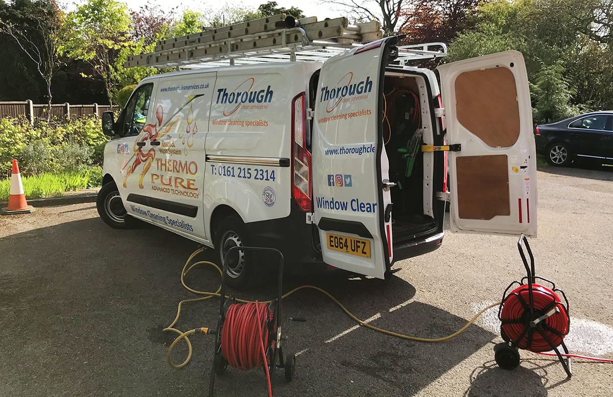 thorough clean services window cleaning van